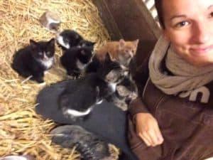 Tanja mit Babykatzen
